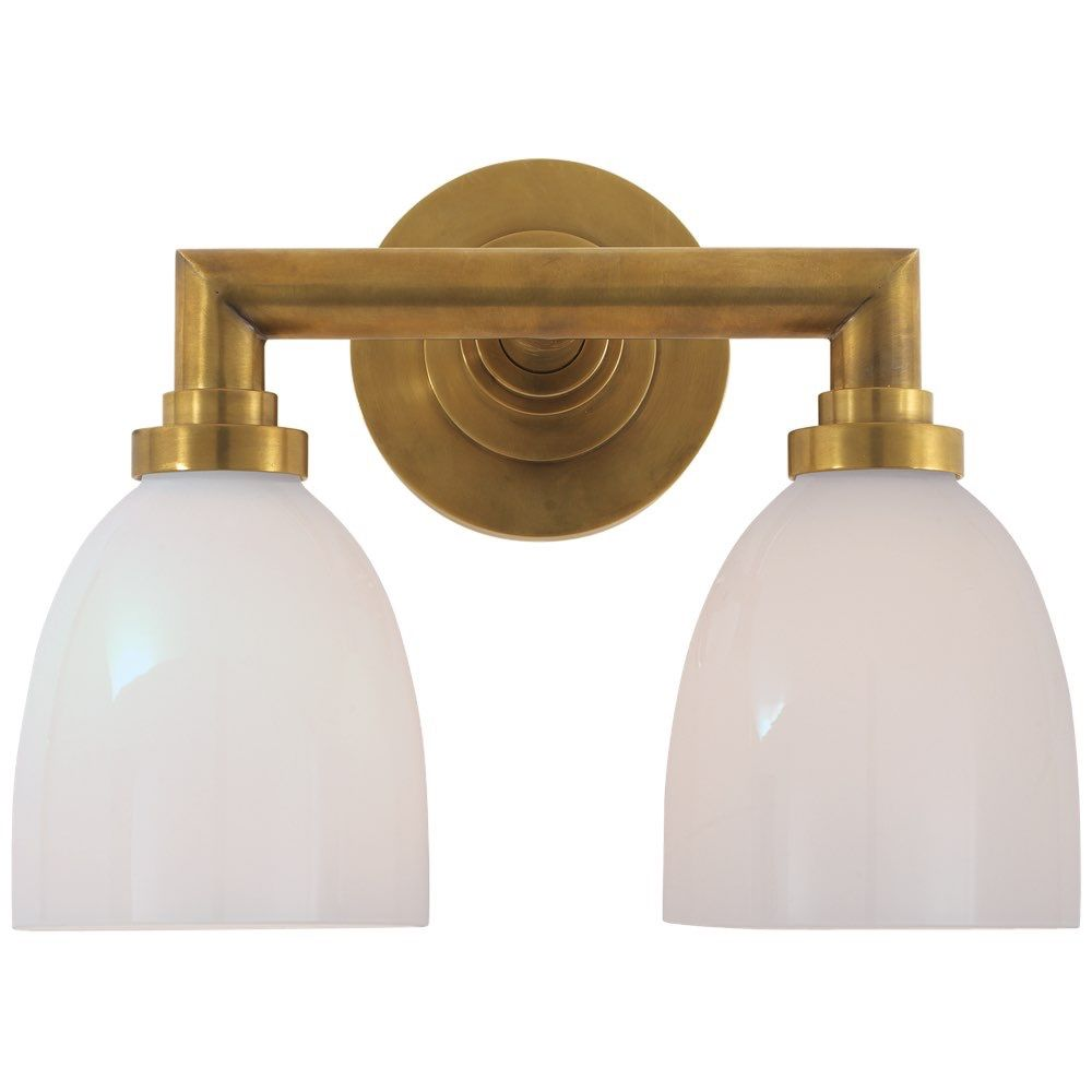 Studio Wilton Double Bath Light In HandRubbed Antique Brass With - Antique brass bathroom light fixtures for bathroom decor ideas