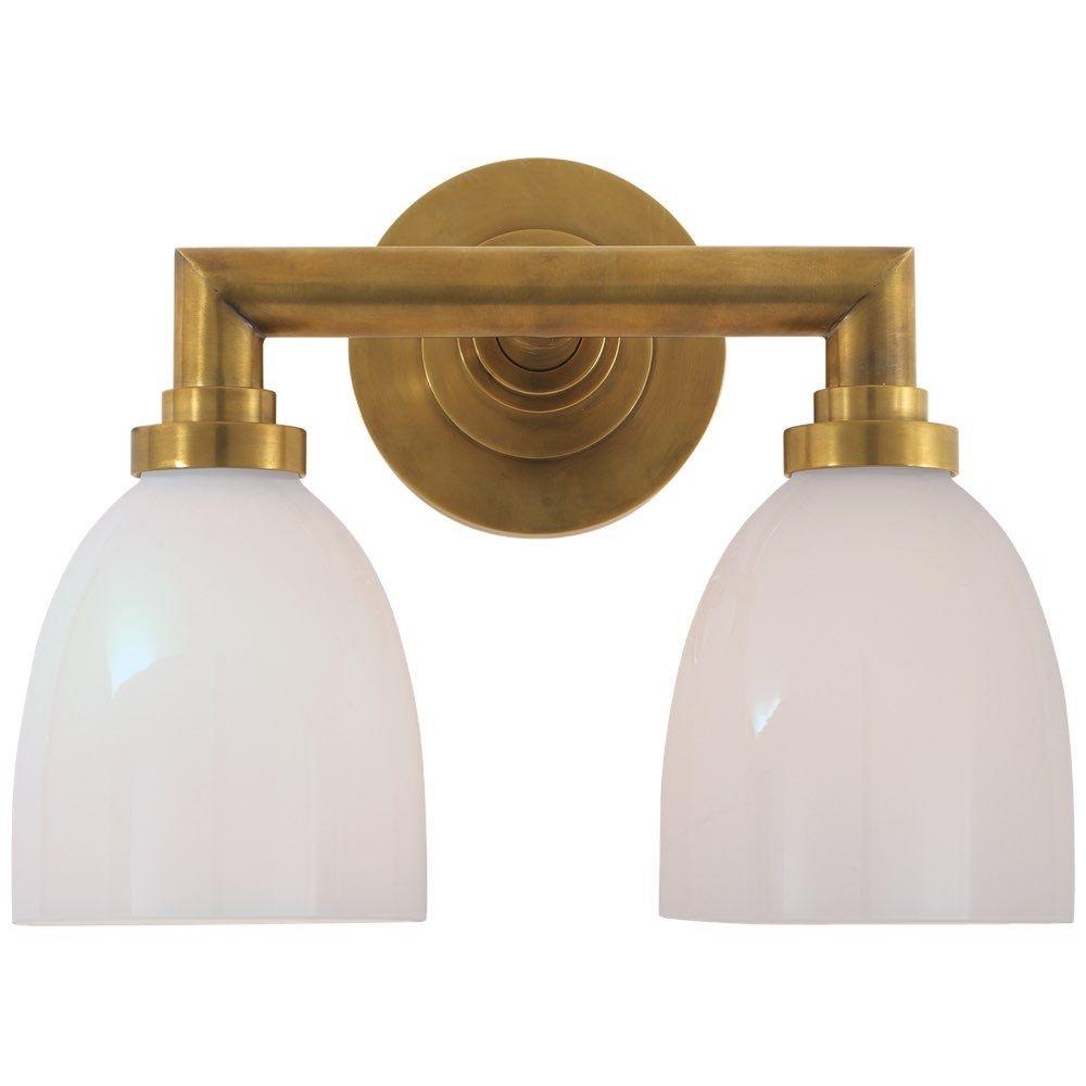 Studio Wilton Double Bath Light In HandRubbed Antique Brass With - Antique brass bathroom light fixtures for bathroom decor ideas
