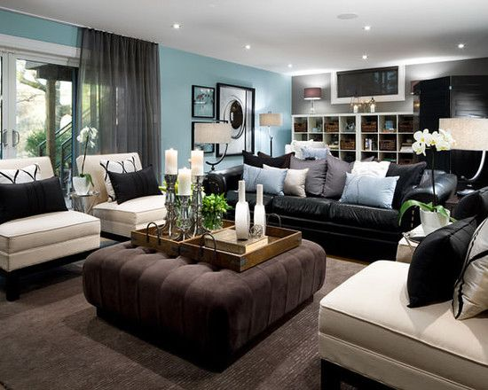 Brown Living Room Decor And Blue