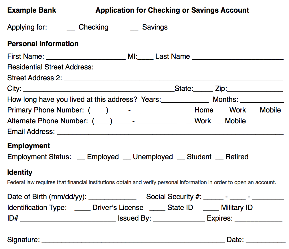 Credit Card Application, Esl