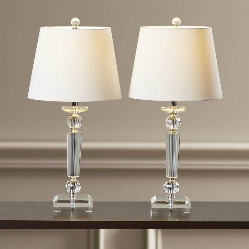 Perfect For Flanking Your Sofa Or Bed This Elegant Crystal Table Lamp Showcases A Tapered Base Lamp Table Lamp Sets Crystal Table Lamps
