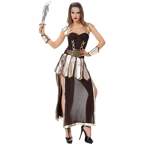 Womens Halloween Ancient Greek Warrior Costume Black ($33) ❤ liked on Polyvore featuring costumes, black, greek costumes, lady costumes, ladies costumes, greek halloween costumes and greek warrior halloween costume