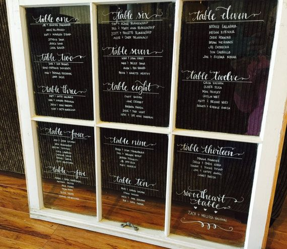 Vintage rustic window pane for wedding seating charts classic font by coastalcalligraphy also rh pinterest