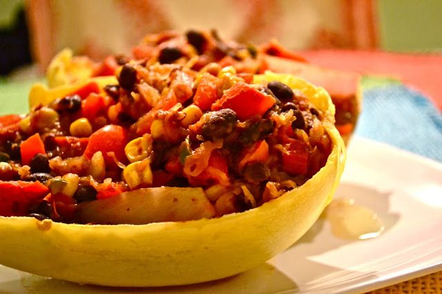 Spicy Spaghetti Squash With Black Beans and Corn