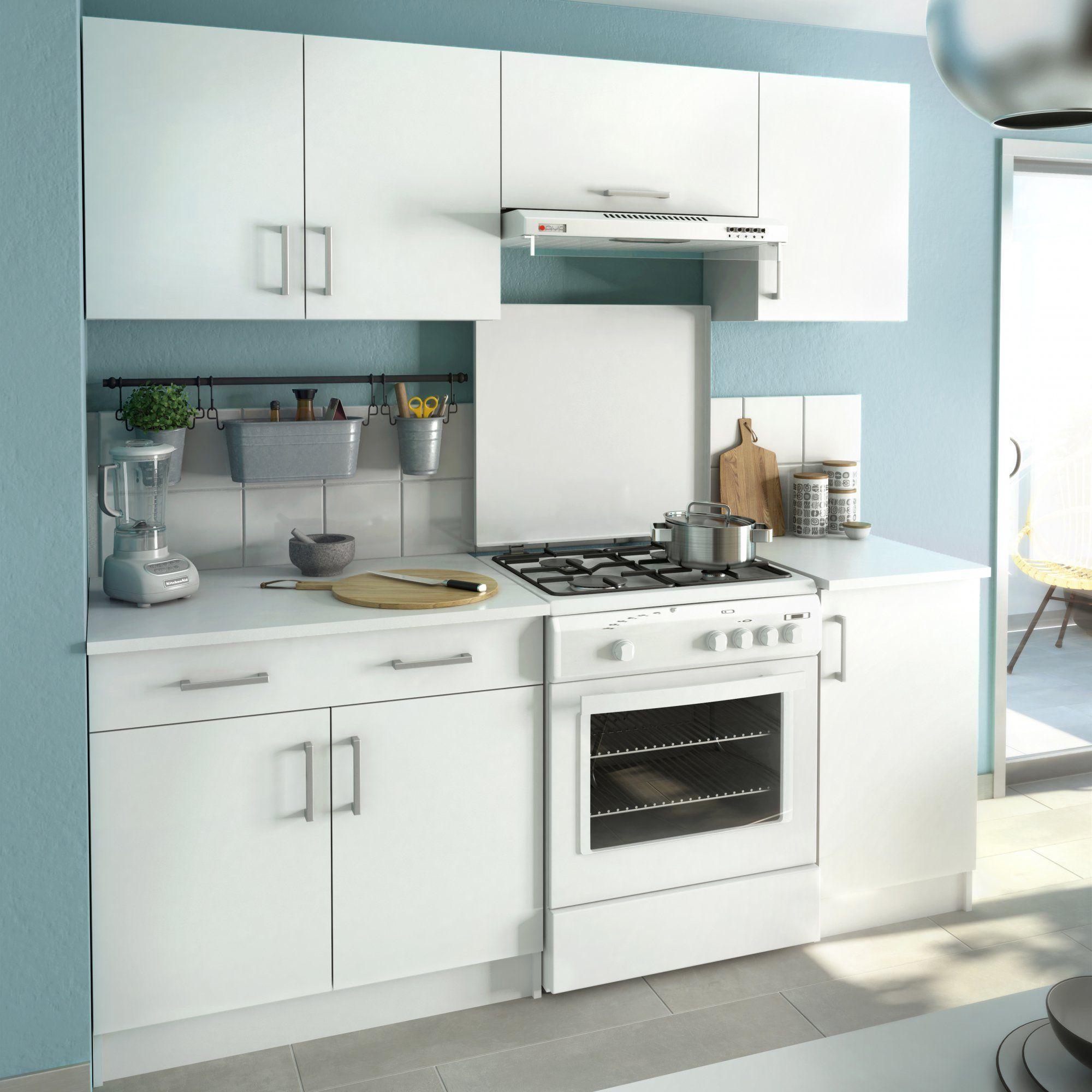 petite cuisine blanche mate d'inspiration rétro avec des meubles