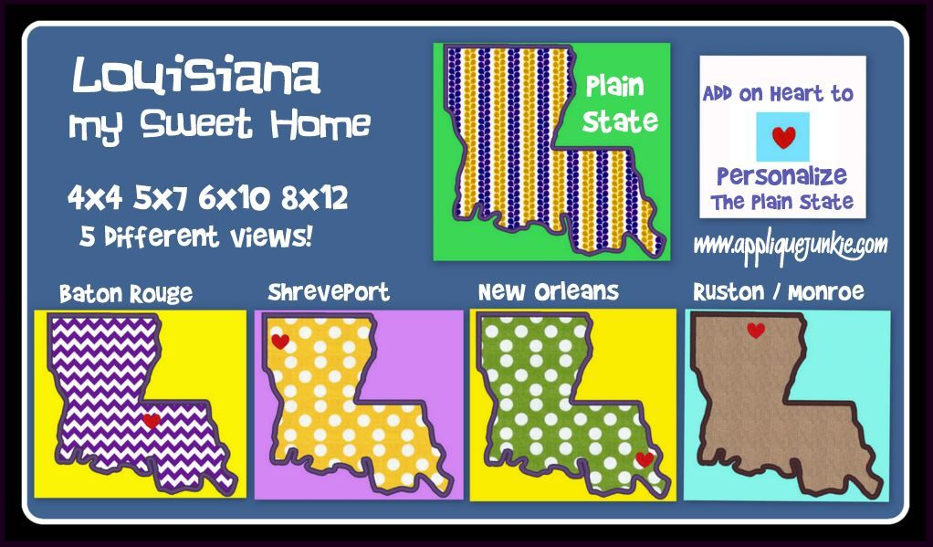 Louisiana My Sweet Home Applique Design | For when I get an ... on home trim design, home kitchen design, home gardening design, home size, home button design, home fashion design, home wallpaper design, home garden design, home print design, home quilt design, home art design, home paint design, home pillow design, home inspiration design, home furniture design, home cross stitch design, home drawing design, home sewing, home painting design, home decorating design,