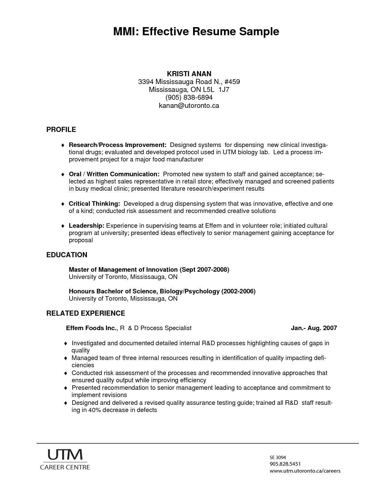 U Of T Resume Examples Effective resume, Resume writing