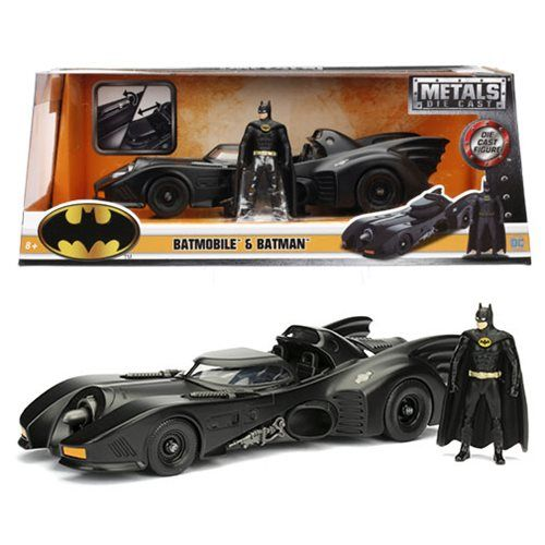 Batman Batmobile With Batman Forever Figure 1995 Matt Black JADA 1:24 JADA98036