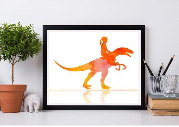 Girl Riding a dinosaur, Orange watercolor, Girls room decor, Personalized gift, Dinosaur print, Modern animal decor, Dinosaur illustration #dinosaurillustration Girls room decor Dinosaur print Riding Girl riding a dinosaur Baby print Watercolor painting Animals Jurassic Instant download #dinosaurillustration