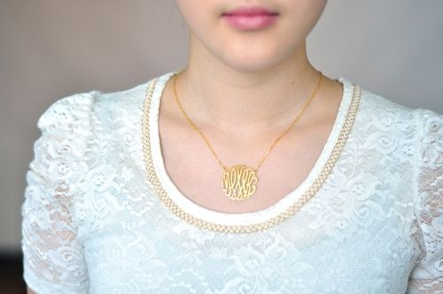 14k gold monogram necklace model cut 125inch pendant size 18inch 14k gold monogram necklace model cut 125inch pendant size 18inch gold chain aloadofball Image collections