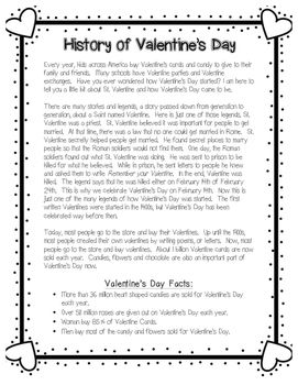 This Reading Passage Is A Great Passage To Teach Your Students About The History Of Valen Valentines Reading Activities Valentines Day History Reading Passages