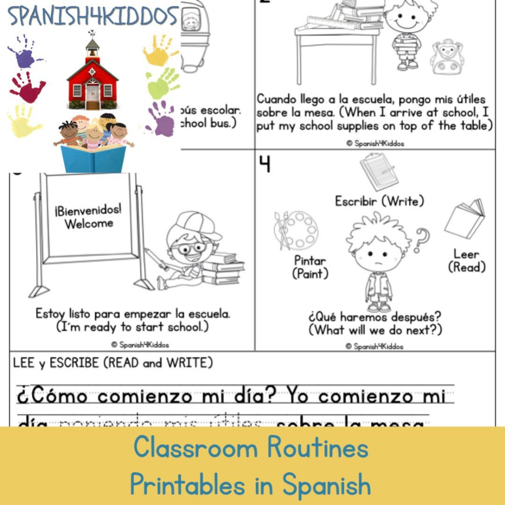 Classroom Routines Printables In Spanish Spanish4kiddos Classroom Routines Learning Spanish For Kids Learning Spanish [ 1000 x 1000 Pixel ]