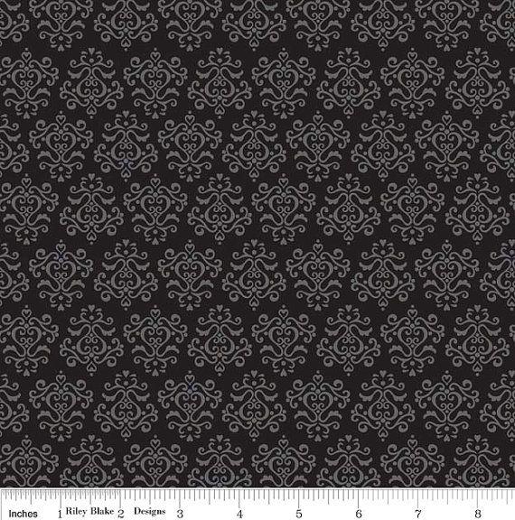 Riley Blake Tuxedo Black Damask C2696 by ClothKeeperFabrics, $8.50