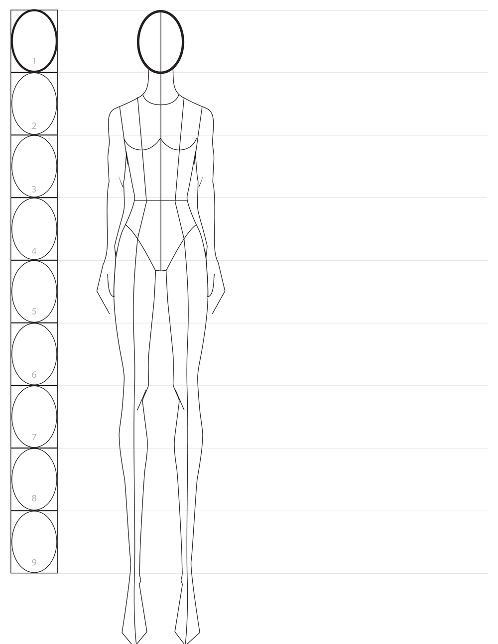 Photo of Fashion Sketching: a Step-by-step Guide to Drawing the Basic Fashion Croquis with 9 Heads Proportions — amiko simonetti