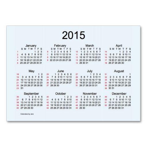 52 week calendar by janz business cards