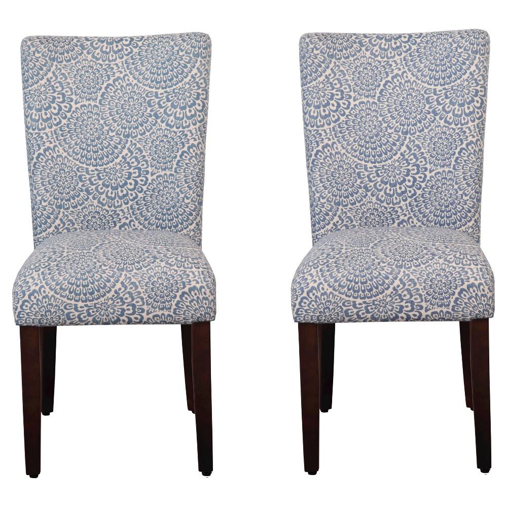 Parson Dining Chair Wood/Periwinkle (Purple) - Floral (Set of 2) - HomePop