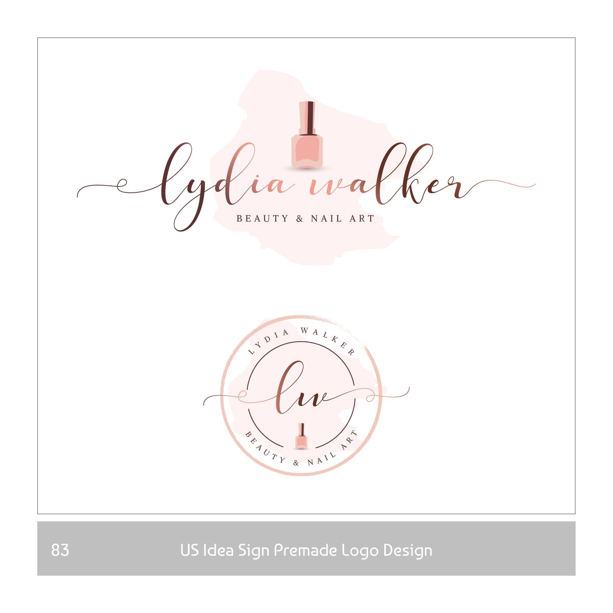 Nail polish logo rose gold Nail Design Logo Premade beauty