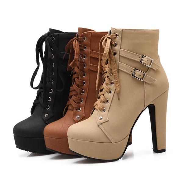 40d720f206c9 high heels lace up leather double buckle platform Ankle Boots - Stylish n  Trendier