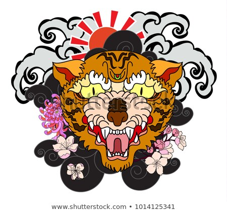 Sticker Tiger Face Chinese Style Tiger Face Tattoo And Red Seun Chrysanthemum Flower And Cherry Blossom On Could Backg Tiger Face Tiger Face Tattoo Face Tattoo