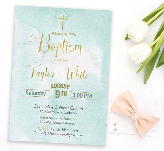 Boy Baptism Invitation First Communion Invitation Boy Christening