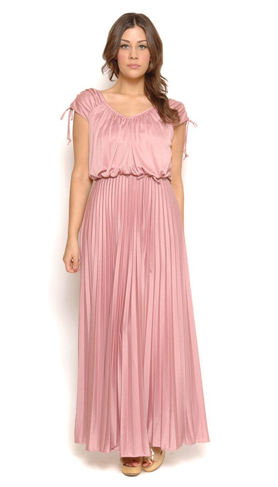 70s Maxi Dress Pastel Blush Pink Boho Drape Pleated Goddess Gown ...
