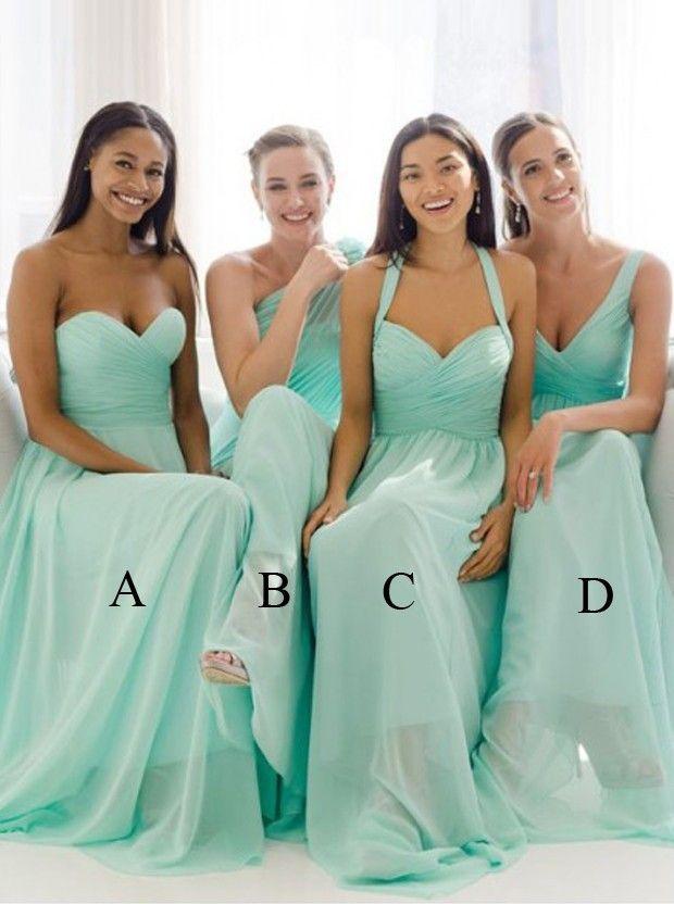 2016 Bridesmaid Dress Long Sheath Floor Length Mint