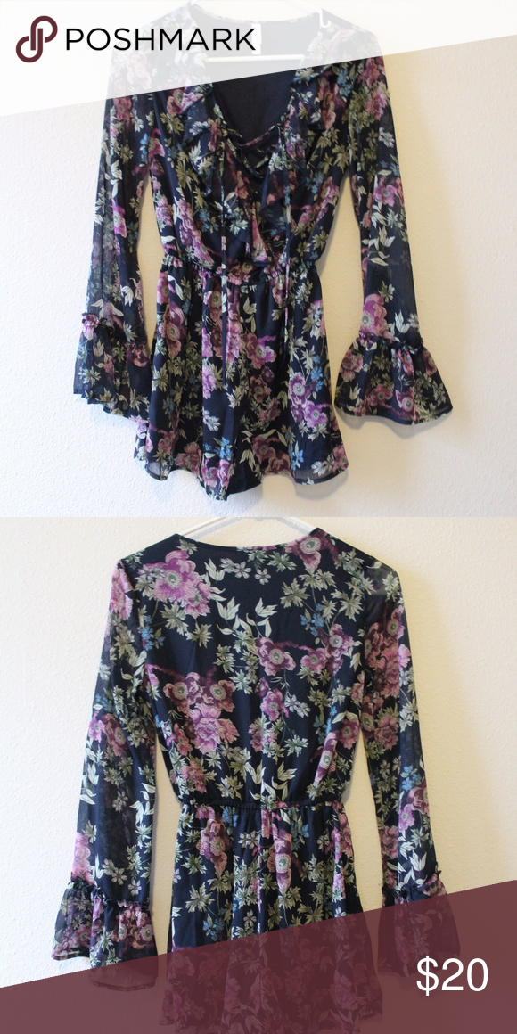 d0c98d58799 Target Romper Flower printed romper with sheer sleeves. Super cute on! Xhilaration  Pants Jumpsuits   Rompers