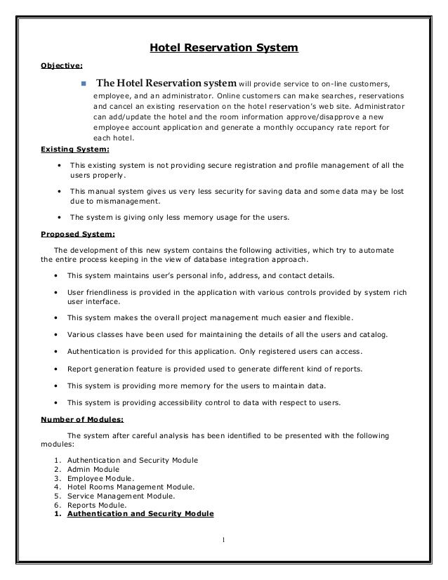 Hotel Reservation System Objective The Hotel Reservation
