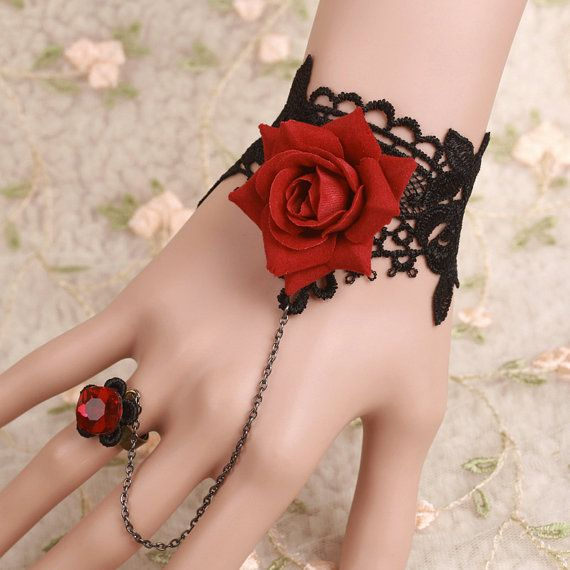 Gothic Black Lace Cuff Bracelet with Red Rose & Ring | Rote rosen ...
