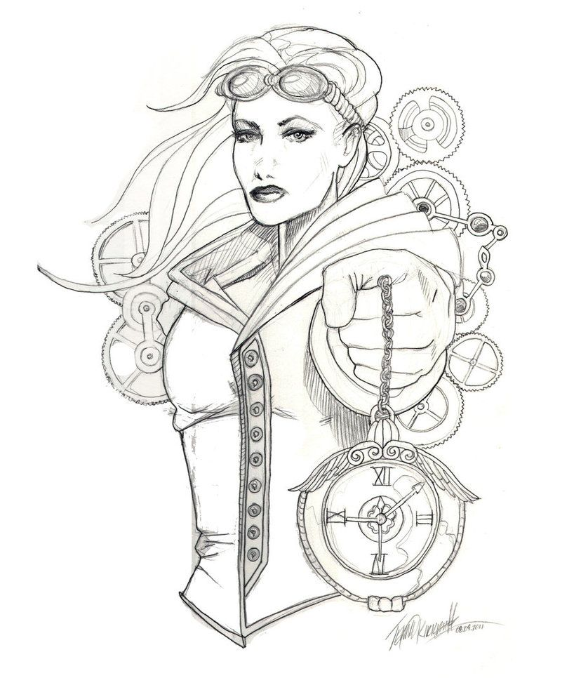Steampunk Girls Coloring Pages