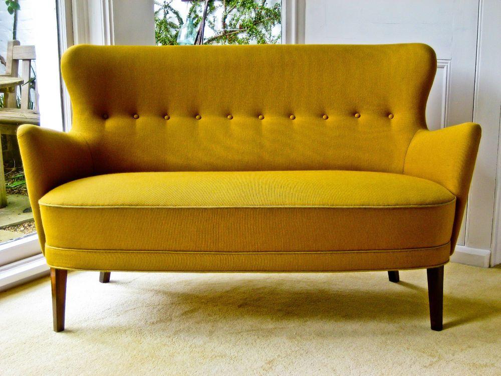1950s Danish 2 Seater Sofa Mid Century Wegner Juhl Fritz Hansen Eames Era Canape In Antiques Antique Furniture Sofas Chaises Ebay