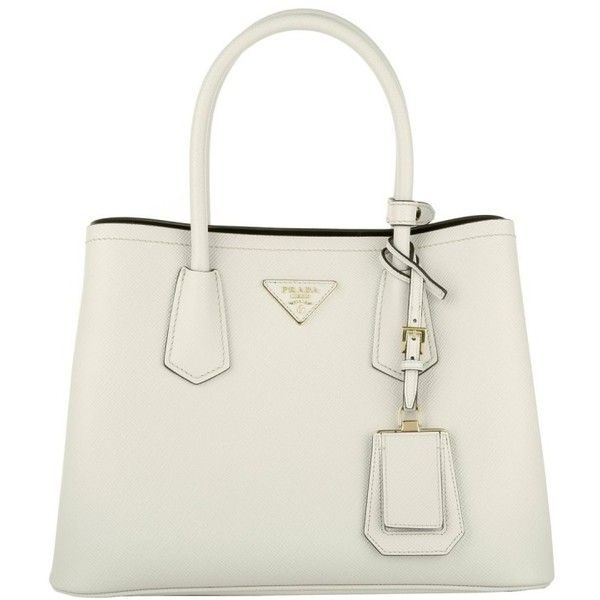 Prada Shopping Bag Saffiano Cuir Talco/Nero in white, Handle Bags ($1,720) ❤ liked on Polyvore featuring bags, handbags, tote bags, white, prada tote bag, leather tote handbags, leather shopper tote, white tote and leather tote bags