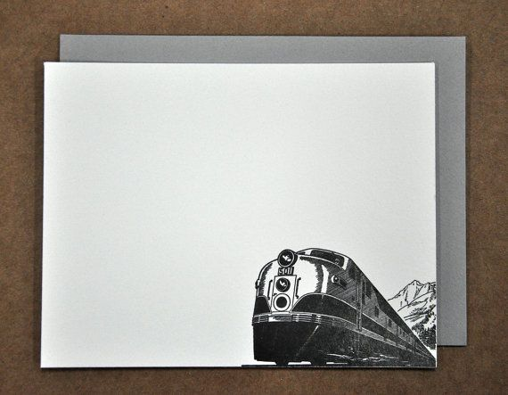 Train Letterpress Stationary Flat Card Set of 4 by PalmettoPress, $12.00
