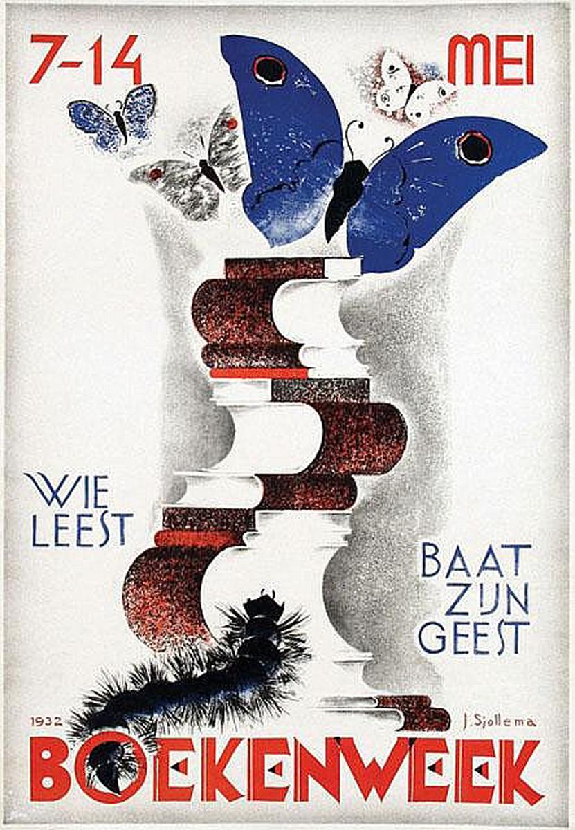 Joop Sjollema (1900-1990) Boekenweek, wie leest baat zijn geest 52x75, 1932