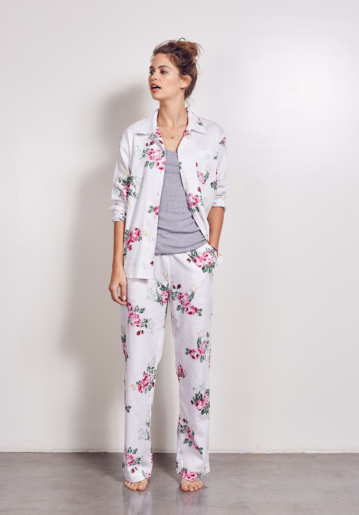 9c2989081116 Hush pyjamas are just the thing for relaxing at home. Wear the vintage rose  print to brighten early mornings and warm summer nights. With matching bag.