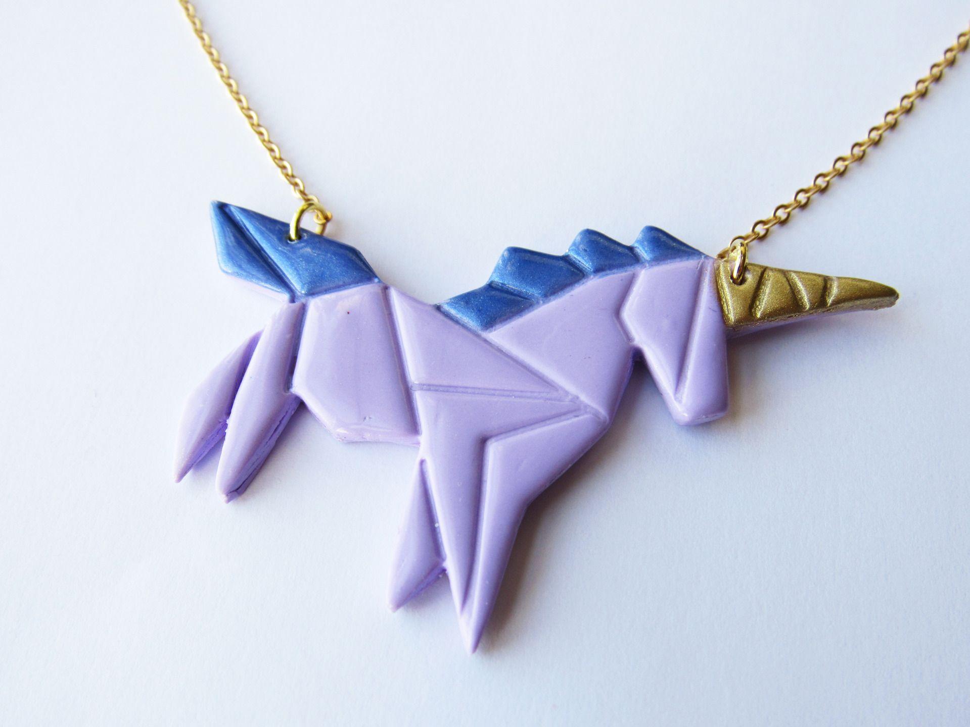 Collier Licorne Origami Violette En Pâte Fimo Et Laiton Doré