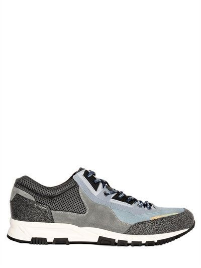 Mesh, Suede And Textured-leather Sneakers - RedLanvin