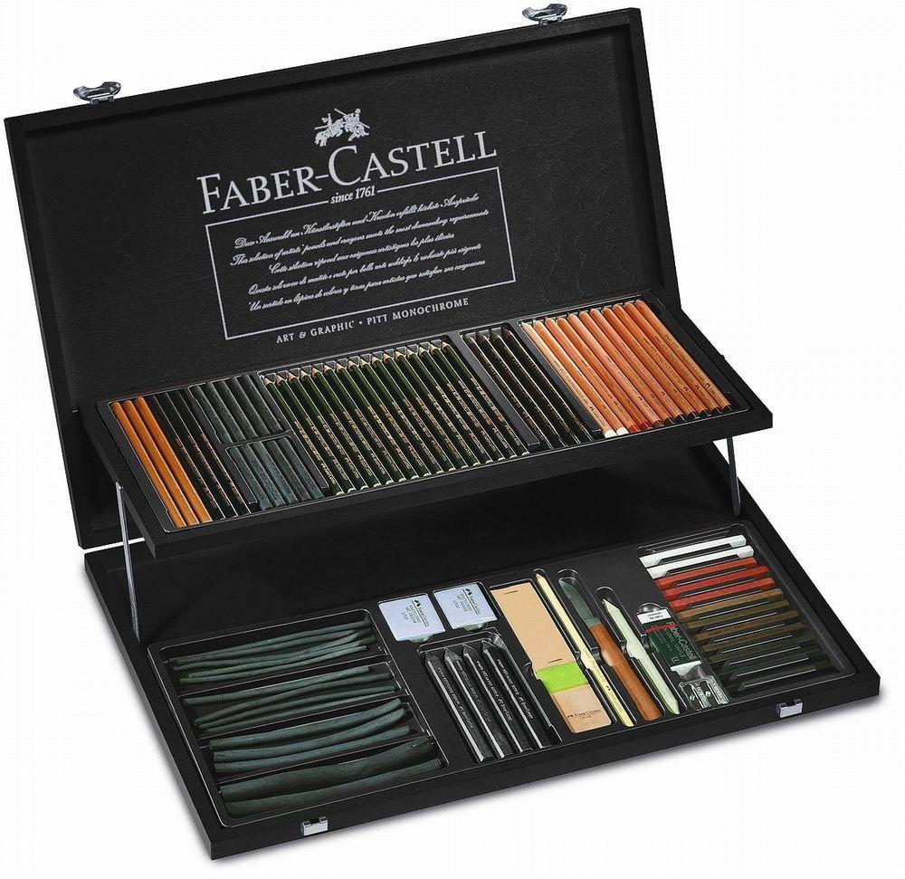 Faber castell pitt monochrome set wood case pencil pastel