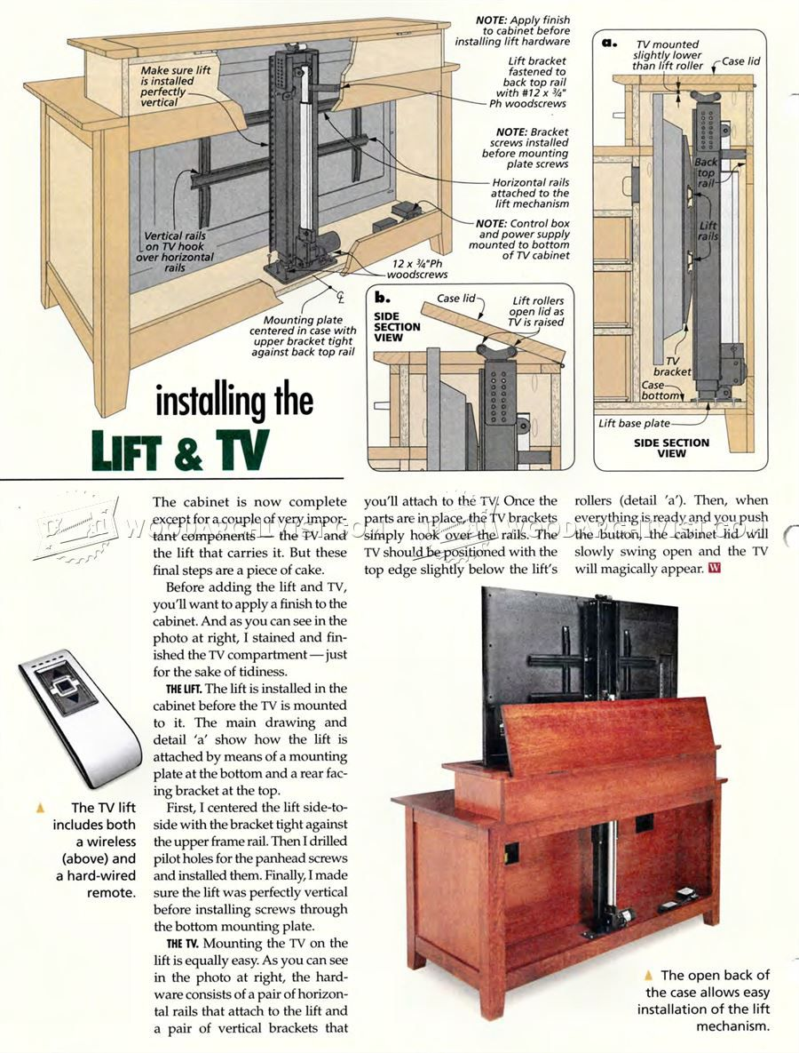 #1941 TV Lift Cabinet Plans   Furniture Plans