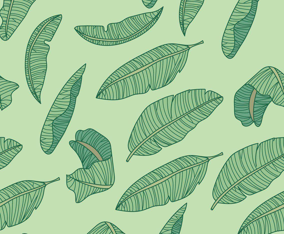 Pattern full of banana leaves. Banana leaf pattern