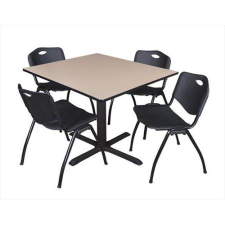 Cain 48 inch Beige Square Breakroom Table and 4 \u0027M\u0027 Stack Chairs