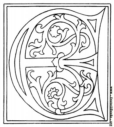 Initial letter E from late 15th century. Every letter from