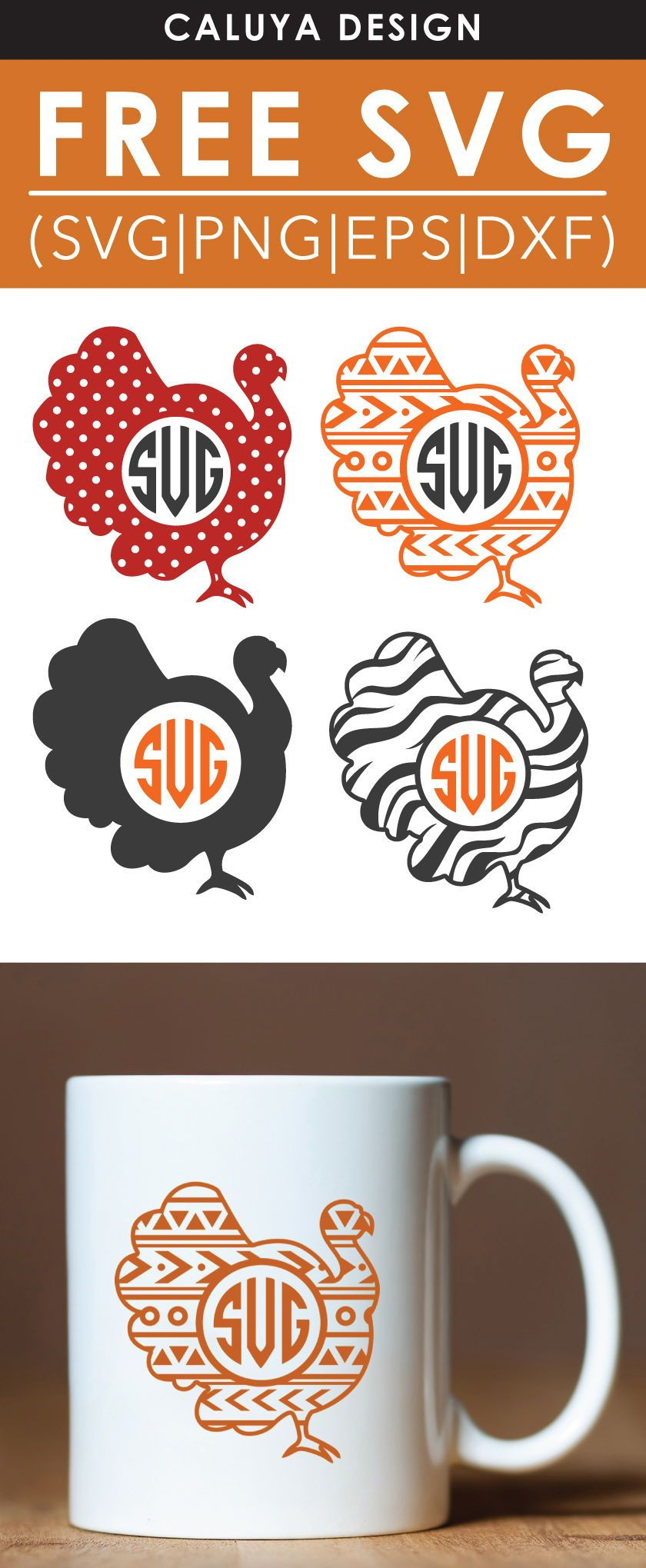 Free turkey monogram SVG, PNG, EPS & DXF by Monogram svg