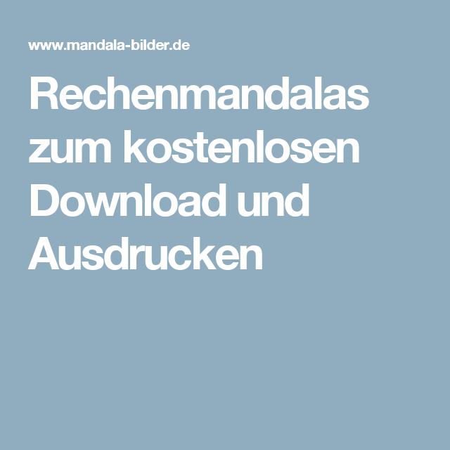 Rechenmandalas zum kostenlosen Download und Ausdrucken | schule ...