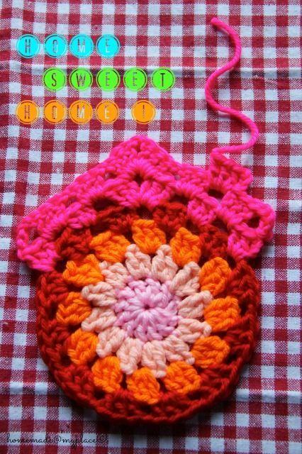 Diy Granny Circle Home Sweet Home Cute Free Crochet Pattern