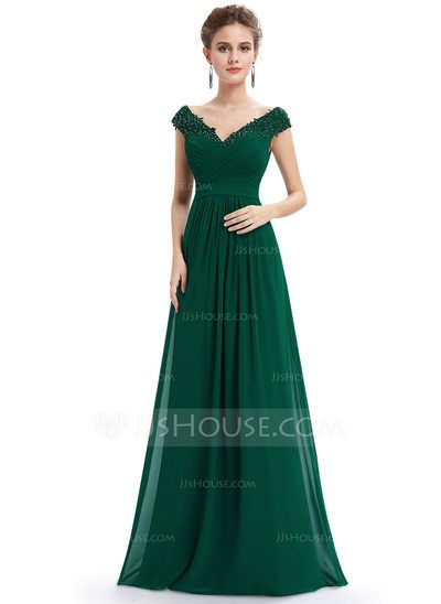 Ruffe Silk Long Graduation Dresses