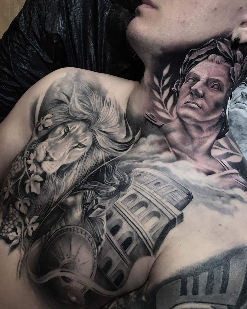 f25198aa4 Julius Caesar, lion, colosseum & gladiator Neck Tattoo For Guys, Cool  Tattoos For