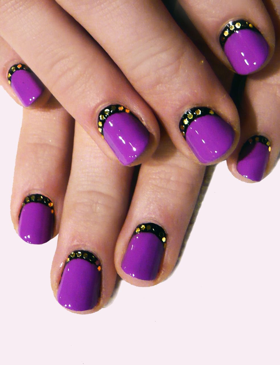 Purple Black And Rhinestones Nail Art