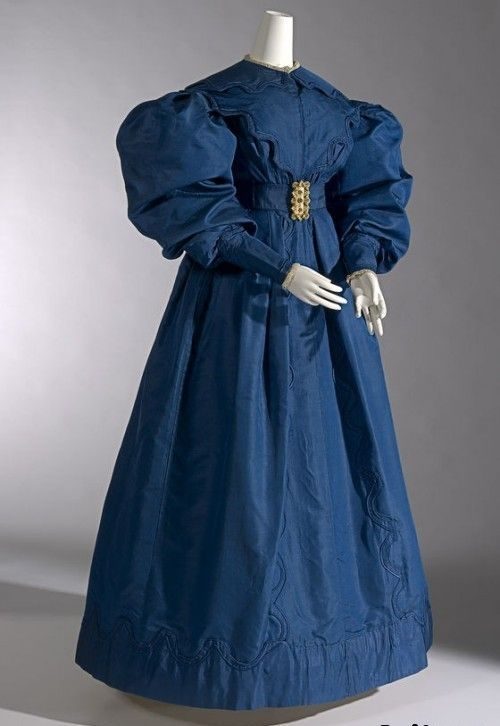 dark blue carriage dress with gigot sleeves c1830 silk gros de naples national gallery of victoria melbourne