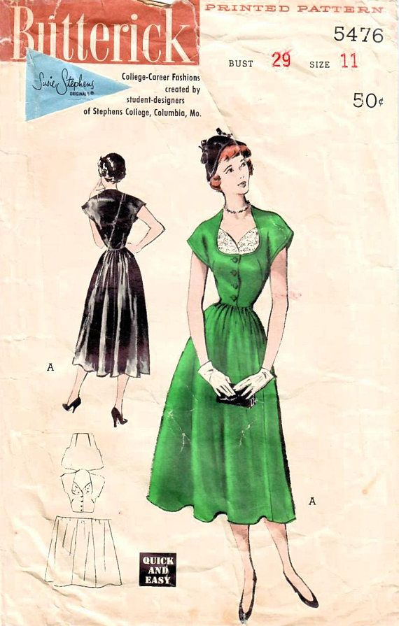 1950s Butterick 5476 Vintage Sewing Pattern Junior Afternoon Dress ...